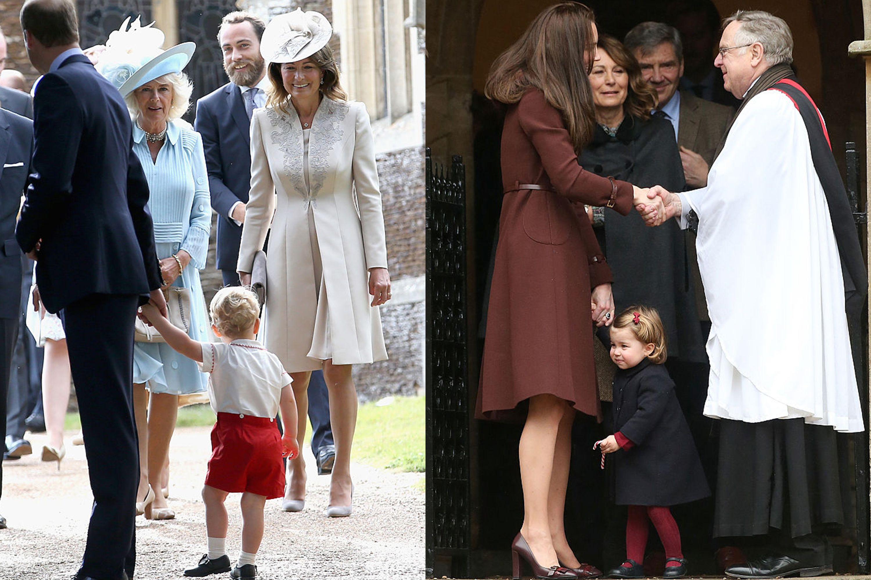 Left: Carole Middleton and Camilla, Duchess of Cornwall lock eyes with Prince George at Princess Charlotte