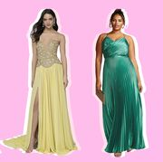 Gown, Dress, Clothing, Fashion model, Formal wear, Shoulder, Green, Day dress, Pink, Bridal party dress,