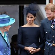 the queen, meghan markle, and prince harry during the centenary of the raf