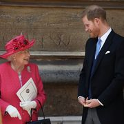 windsor, england   may 18 queen elizabeth ii speaks with prince harry, duke of sussex as they leave after the wedding of lady gabriella windsor to thomas kingston at st george's chapel, windsor castle on may 18, 2019 in windsor, england photo by steve parsons   wpa poolgetty images