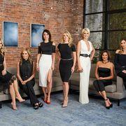 Season 9 cast of the Real Housewives of New York City: Tinsley Mortimer, Sonja Morgan, Bethenny Frankel, Ramona Singer, Dorinda Medley, Luann D'Agostino, and Carole Radziwill.