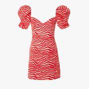 Clothing, Day dress, Red, Dress, Orange, Sleeve, Pattern, Cocktail dress,