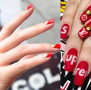 Nail polish, Manicure, Nail, Nail care, Finger, Cosmetics, Red, Service, Hand, Material property,