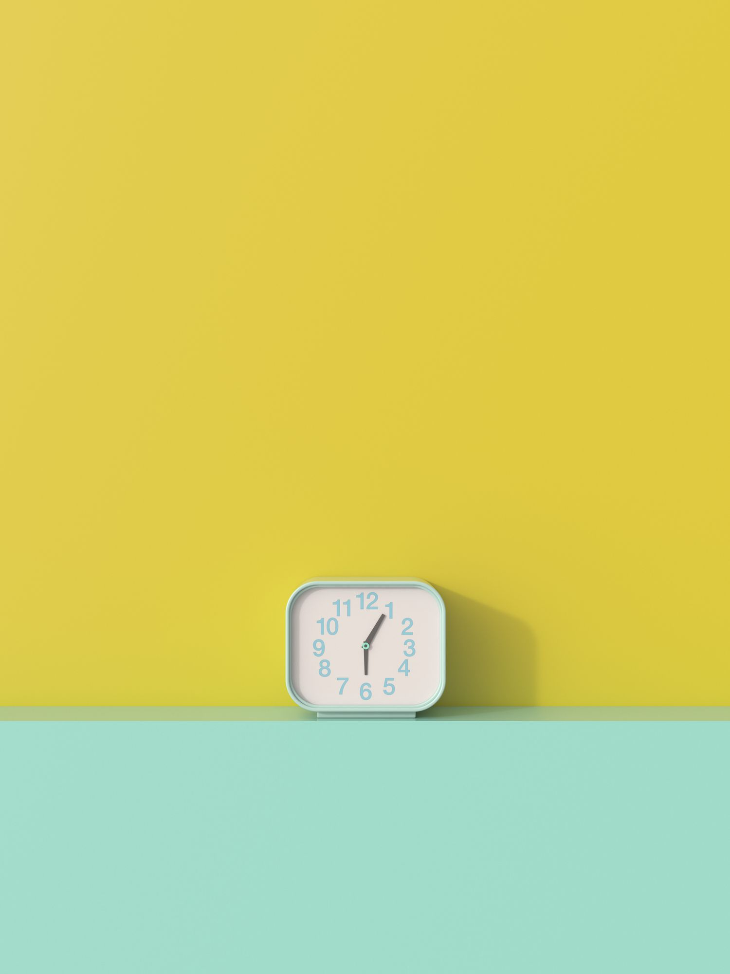 3D rendering, Alarm clock on shelf aggainst yellow background