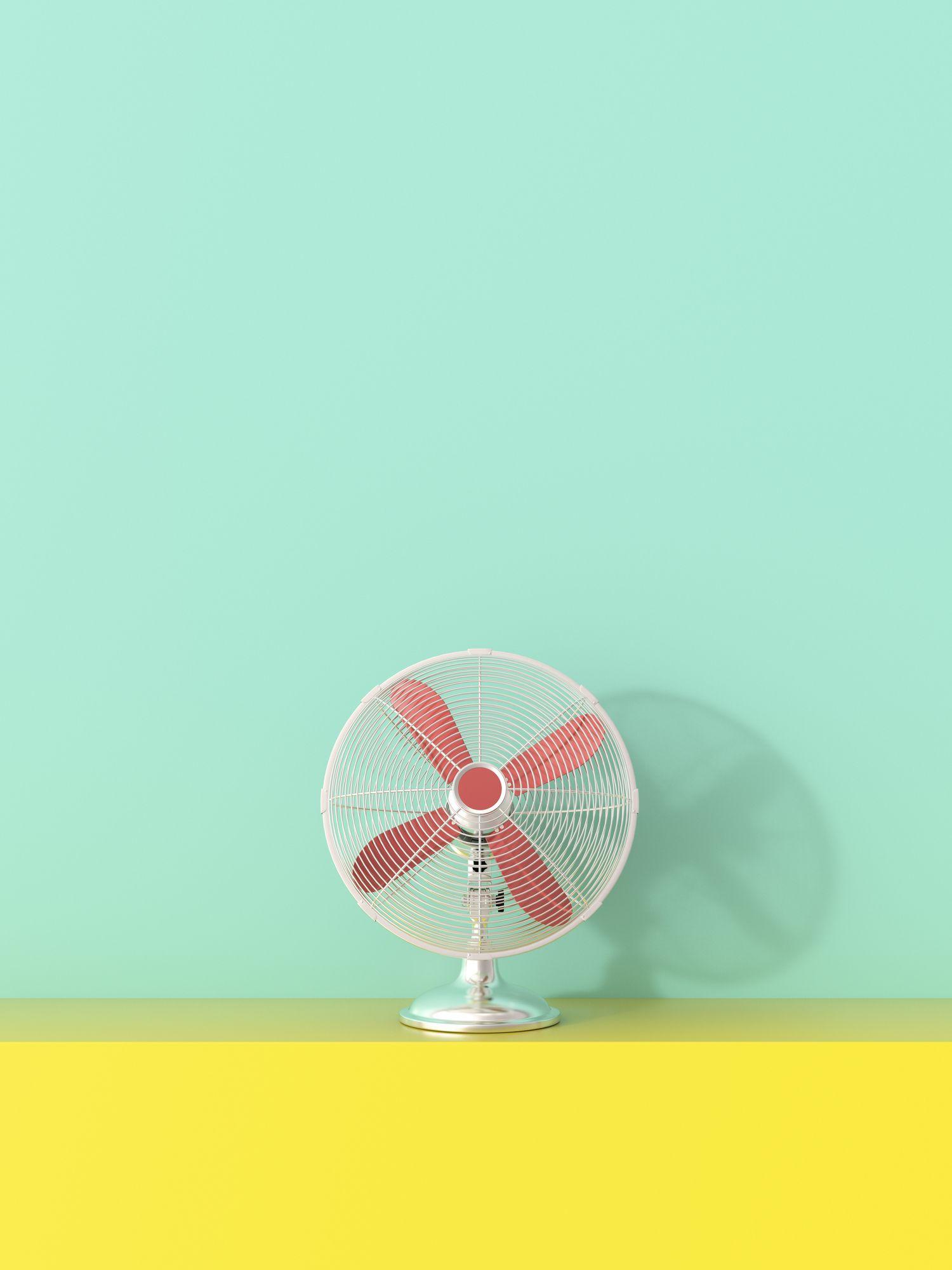 3D rendering, Fan on yellow shelf against green background