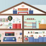 House, Illustration, Room, Home, Shelf, Interior design, Building, Art,