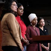 congresswomen ocasio cortez, tlaib, omar, and pressley hold news conference after president trump attacks them on twitter