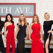Dress, Red, Event, Formal wear, Carpet, Fashion, Shoulder, Little black dress, Premiere, Flooring,