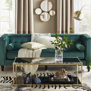 Furniture, Living room, Room, Interior design, Table, Turquoise, Coffee table, Couch, studio couch, Home,