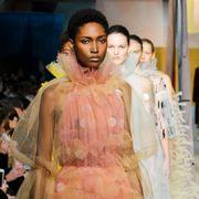 Fashion, Yellow, Fashion design, Event, Sari, Fashion model, Haute couture, Black hair,