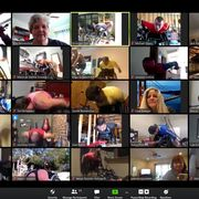 a picture of the zoom call used to host the virtual wheelchair boston marathon event with such elites as daniel romanchuk, tatyana mcfadden, aaron pike, marcel hug, and manuela schär