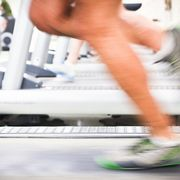 Running on treadmill.