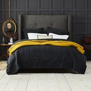 Furniture, Bed, Bedroom, Room, Bed frame, Yellow, Wall, Floor, Interior design, Bedding,