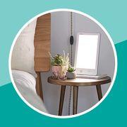 verilux sad lamp on bedside table