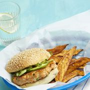 salmon burgers and five-spice sweet potato fries