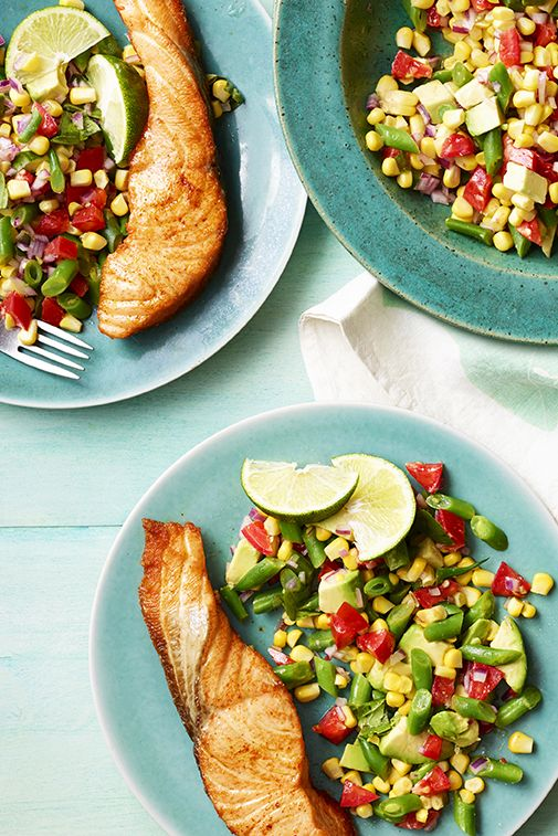 salmon with corn and avocado succotash