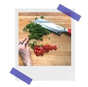 chopping vegetables with a santoku knife