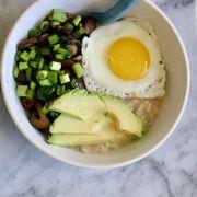 savory egg and avocado oatmeal