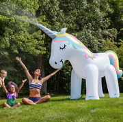Unicorn, Green, Games, Inflatable, Horse, Fictional character, Fun, Grass, Spring, Sculpture,