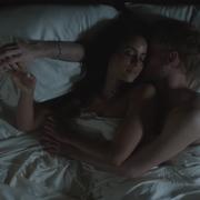 Beauty, Bed, Room, Lip, Hand, Long hair, Darkness, Flesh, Sleep, Black hair,