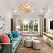 Living room, Room, Furniture, Interior design, Property, Turquoise, Ceiling, Coffee table, Building, Home,