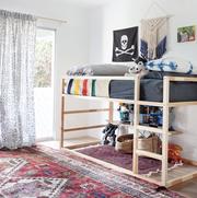 Furniture, Room, Shelf, Bedroom, Interior design, Wall, Bed, Shelving, House, Table,