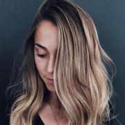 Hair, Blond, Face, Hairstyle, Layered hair, Long hair, Hair coloring, Eyebrow, Chin, Brown hair,