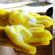 Yellow, Food, Glove, Cuisine, Hand, Takuan, Ingredient, Dish, Washing, Recipe,
