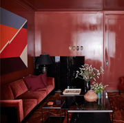 Living room, Room, Interior design, Red, Property, Furniture, Building, Architecture, Couch, House,