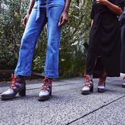 Jeans, Footwear, Blue, Street fashion, Red, Shoe, Human leg, Leg, Snapshot, Denim,
