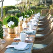 Green, Table, Rehearsal dinner, Centrepiece, Yellow, Tablecloth, Restaurant, Flower, Brunch, Furniture,