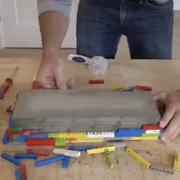 backsplash using concrete and legos