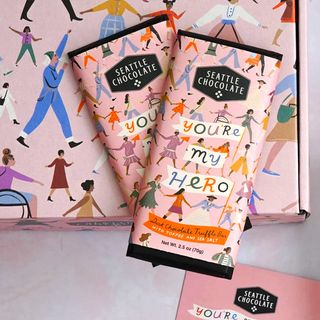 "seattle chocolate ""you're my hero"" gift set"