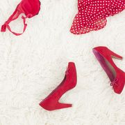 Red, Pink, Font, Carmine, Lip, Footwear, Material property,