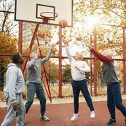 seniors playing basketball