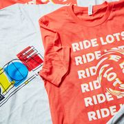 bicycling's ride lots tshirt in coral