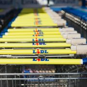shopping carts of the german supermarket chain, lidl stands together