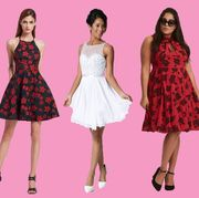 Clothing, Fashion model, Dress, Pink, Cocktail dress, Fashion, Magenta, Formal wear, Footwear, Pattern,
