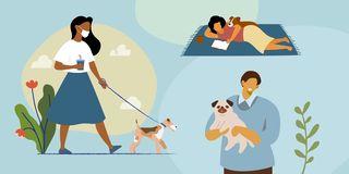 woman walking dog, man holding dog, woman reading on blanket next to dog