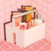 pink shower caddy