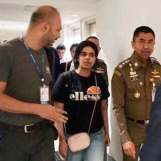 Saudi Arabian young woman seeking for asylum was stopped at Bangkok airport, Samut Prakan, Thailand - 07 Jan 2019