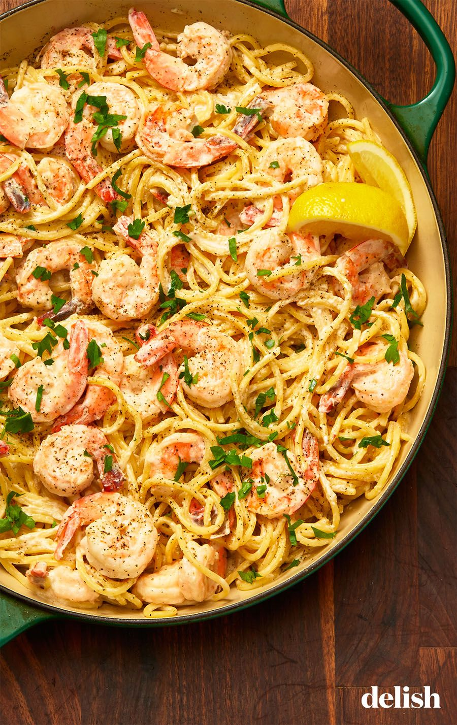 Creamy Lemon Pepper Shrimp Spaghetti