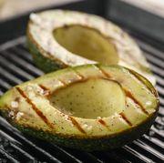 sliced fresh avocado on the grill health food barbeque avocado