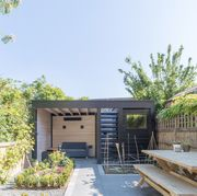 small backyard with garden and potting shed