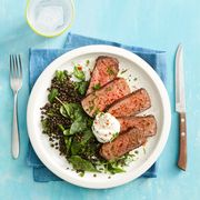 smoked paprika steak and lentils with spinach