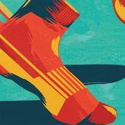 Orange, Sock, Yellow, Illustration, Footwear, Graphic design, Acrylic paint, Modern art, Art,