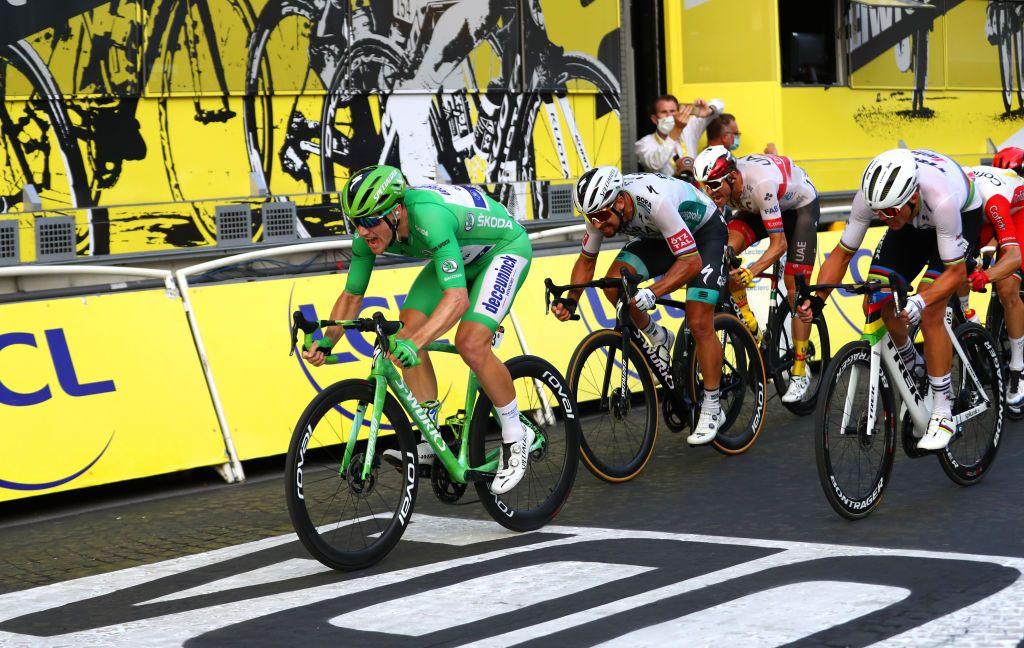 Sam Bennett wearing the green jersey during the 2020 Tour de France.