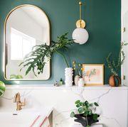 Green, White, Room, Interior design, Houseplant, Bathroom, Design, Material property, Plant, Furniture,