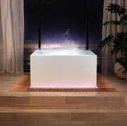 rectangular tub with steam flowing out of it