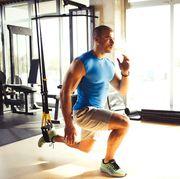 TRX suspension training- man doing leg exercises